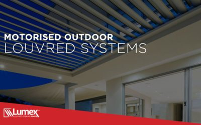 Motorised outdoor louvred system