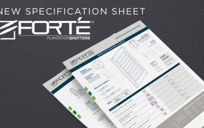 New FORTE Plantation Shutters Specification Sheet